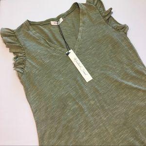 Sage Green V-neck Ruffle Sleeve Top